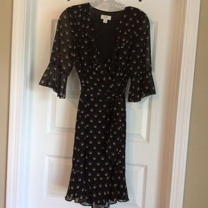 ANN TAYLOR LOFT Bell Sleeve Print Dress